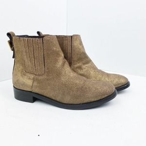 Tory Burch Gold Shimmer Wade Chelsea Booties 5.5 M